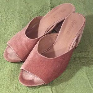 Madewell EUC Pink/Blush Velvet Open-Toe Slides